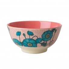 MELAMINE BOWL, BLUE POPPY PRINT
